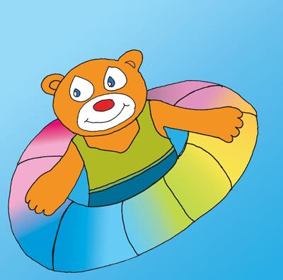 kesäaktiviteetit Tahkolla Teddy uimassa
